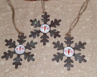 Set of 3 Whimsical Primitive Rusty Tin Snowflakes Snowman Ornaments Christmas Holiday Ornies Hang Tags Gift Ties