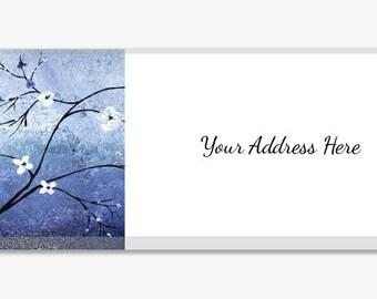 Blue Flowers Landscape Address Labels From Original Artwork Stickers Sheet of 60 Personalized Modern Customize Housewarming Gift Custom