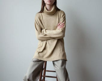 metallic gold oversized turtleneck sweater / oversized sweater / s / m / l / 2958t / B21