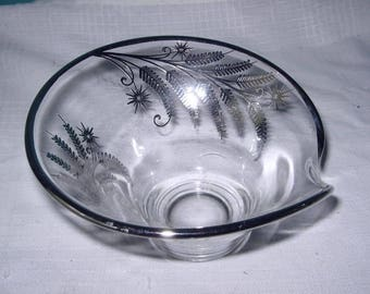 Glass bowl with silver overlay fern design
