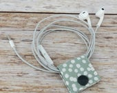 Fabric Cable iPhone Cord Holder Earphone Earbud Holder Cable Holder Cable Cord Organizer Cable Organiser - White Mini Dots on Sage Fabric