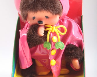 Monchhichi Doll, Raincoat,  MIB, Package, Made in China, Sad, Spring Time, Plush, Monkey, Sleeping, Frog, Pink ~ The Pink Room ~ 161002A