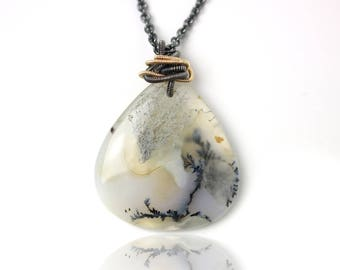 Dendritic Agate Necklace with Mixed Metal Coils