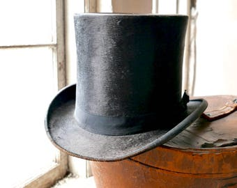 Top Hat With Leather Case Antique Rustic Gents Decor