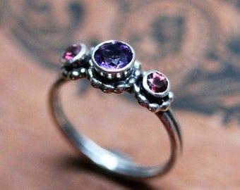 3 stone ring, three stone ring, anniversary ring, silver ring, bezel amethyst, rhodolite garnet, gift for her, ready to ship size 6.5, Crush