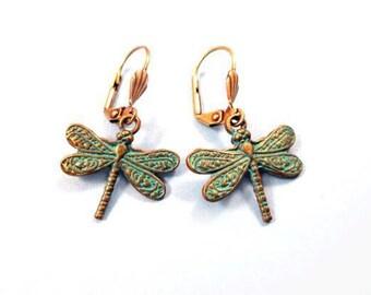 Dragonfly Earrings, Teal Verdigris Patina, Brass Dangle Earrings, FREE Shipping U.S.