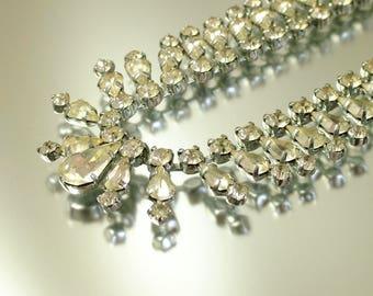 Vintage/ estate 1950s Art Deco , glam chrome &  rhinestone/ paste costume necklace - jewellery jewellery