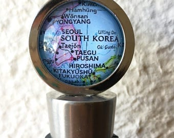South Korea Map Wine Stopper Stainless Steel - featuring Seoul, Busan, Taegu, and more