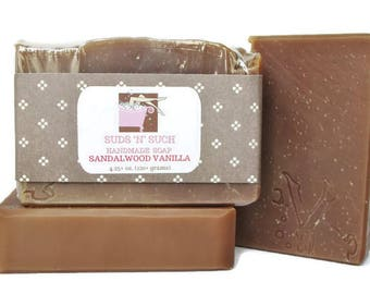 Sandalwood Vanilla Body Soap - Unisex Scent - Phthalate Free Fragrance - Vegan - Cold Process - Dye Free