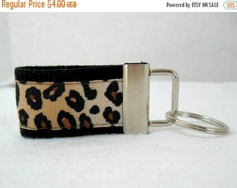 20% OFF Mini Leopard Key Fob - Cheetah Keychain BLACK - Animal Print Small Key Chain - Cheetah Zipper Pull