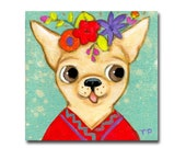 ORIGINAL Chihuahua dog painting cute little acrylic painting pet portrait Mexican Chihuahua dog folk art puppy with flowers by Tascha