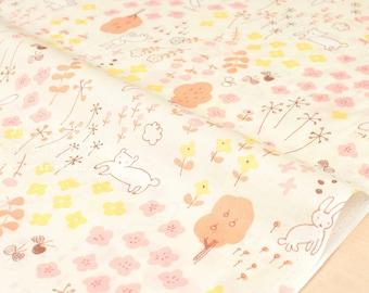 Japanese Fabric Megumi Sakakibara lawn - Hanazono - yellow, peach - 50cm