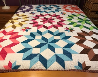 New Ca King size  machine pieced and quilted Carpenter star  Patchwork quilt / #NJ-81