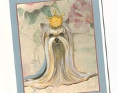 Yorkie Yorkshire terrier Princess in Gold Crown Note Cards Set of 5 with Envelopes