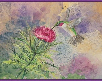 Hummingbird Thistle Watercolor Note Cards Set of 6 with Envelopes