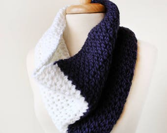SAMPLE SALE Colorblocked Merino Wool Hand Knit Infinity Scarf, Purple, White, Two Tone, Soft, Warm, Winter, Cozy, Winter Scarf, Gift for Her