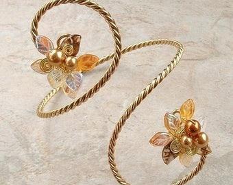 ON SALE Midsummer Night Fairy Arm Band Bracelet Gold, Bridal Body Jewelry Arm Cuff