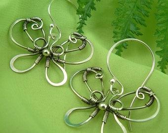 Silver Butterfly Earrings ~ Wire Wrapped Butterfly Earrings ~ Silver Wire Butterflies ~ Sterling Silver Butterflies ~ Silver Butterflies