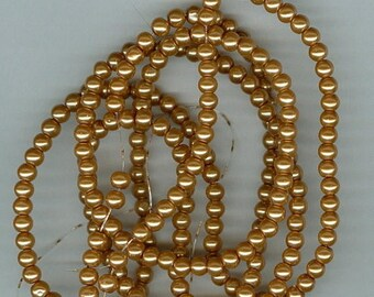 CLEARANCE 4mm Dark Golden Yellow Glass Pearl Round Spacer Beads 32 Inch Strand Bead Spacers