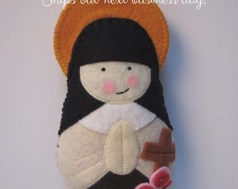 QUICK SHIP...Saint Therese of Lisieux...Little Flower...Felt Softie