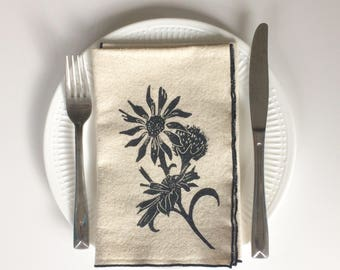 Cotton Cloth Napkin Set of Four with Daisy and Thistle Print, Home Goods, Holiday tabletop, Holiday Gifts