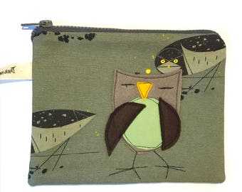 Owl Felt Appliqué large zipper pouch, organic cotton canvas, lined, gift idea, Charley Harper fabric