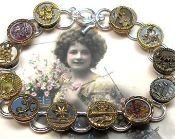"""1800s Antique BUTTON bracelet, Victorian flowers, 8.25"""" button jewellery."""