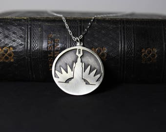 Bioshock Welcome To Rapture Hand Cut Sterling Silver Art Deco Necklace
