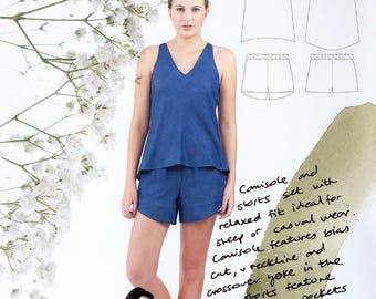 Megan Nielsen PATTERN - Reef Camisole + Shorts - Sizes XS to XL