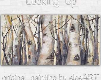 Sale Original art Abstract Painting large Oil Painting, aspen tree art fall Landscape Painting by tim lam 48x24x1.4