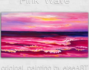 Original abstract painting Sea art Sunrise Beach Pink Wave on gallery wrap canvas oil painting home art by tim Lam 48x24