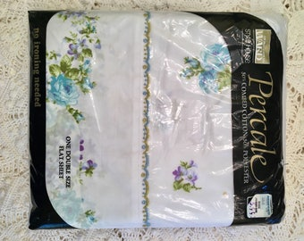 Vintage Floral Percale Flat Sheet - Montgomery Ward Style House  - Blue Purple Green on White Flat Sheet - New in Package - NIP  NOS