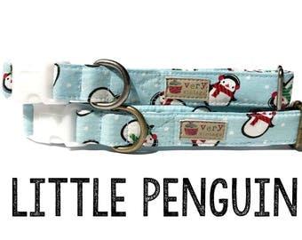 "Light Blue White Dot Snow Penguin Winter Holiday Dog Collar - Organic Cotton Dog Collar - All Antique Metal Hardware - ""Little Penguin"""