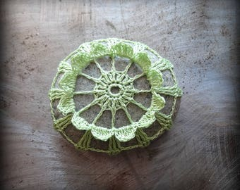 Crocheted Stone, Handmade, Unique Gift, Decorative Doily Rock, Bohemian Beach, Small Light Green, Unique Miniature Art, Collectible, Monicaj