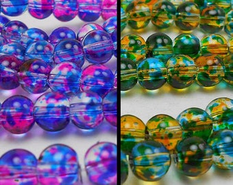 60 6MM Glass Beads - 30 pink, blue and 30 blue, yellow (H9138)