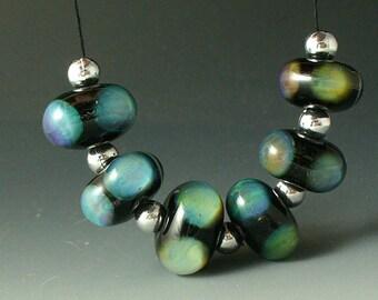 Lampwork beads/SRA lampwork/beads/double helix/silver glass/ blue opals/