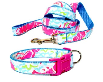 2017 LOBSTAH ROLL (NEON) Dog Collar and/or Leash with Bow or Flower Option Made from Lilly Pulitzer Fabric on Blue Size: Your Choice
