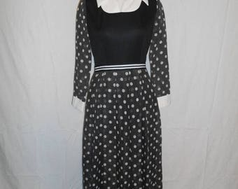 60s 70s long dress polka dot black white dress