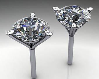 Private Listing for Jennifer - custom 6 carat NEO moissanite earrings, platinum stud earrings, payment 1 of 5