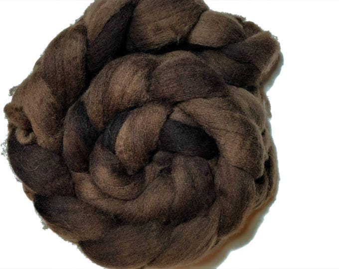 Kettle Dyed Cheviot Wool top. Roving.  Spin. Felt. Soft and easy to work with. Toffee.
