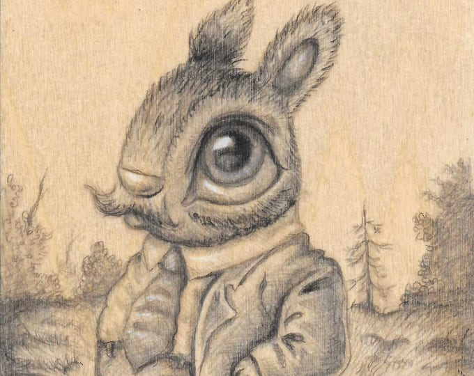 Bunny in Suit - Original drawing on wood by Mr. Hooper of Nashville, Tennessee