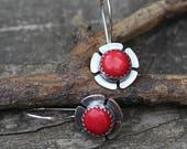 Red coral sterling silver flower dangle earrings