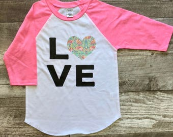 Girls I love Flamingos Baseball T Shirt modern graphic trendy tee Pink White Pink Bird