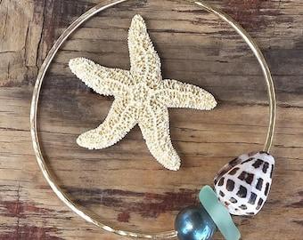 Hawaii Bangle, Shell Bangle, Gold Filled Bangle, Beach Glass Bangle, Hebrew Shell Bangle, Shell Bracelet, Beachy Boho, Beach Jewelry