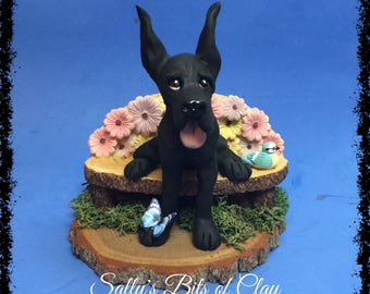 READY TO SHIP!  Black Great Dane dog with cropped ears Original sculpture by Sally's Bits of Clay