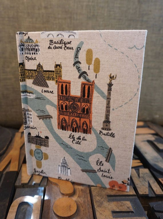 Fabric Covered Journal - Small Blank with Paris Theme