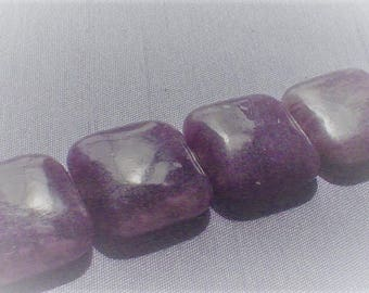 natural gemstone purple purple jade smooth square bead 20 mm / 5 beads