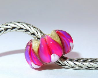 Luccicare Lampwork Bead - Happy Lily -  Lined with Sterling Silver
