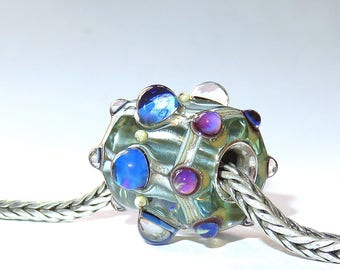 Luccicare Lampwork Bead - Rolo - FOCAL -  Lined with Sterling Silver
