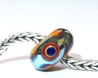 Luccicare Lampwork Bead - Tropical I -  Lined with Sterling Silver